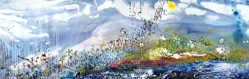 Water media painting,  Migration by Christine Alfery