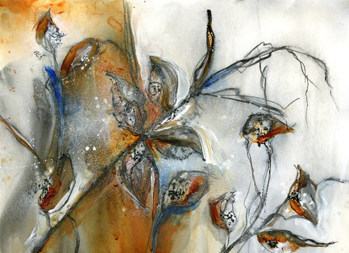 Water media painting, Milkweed Pods by Christine Alfery