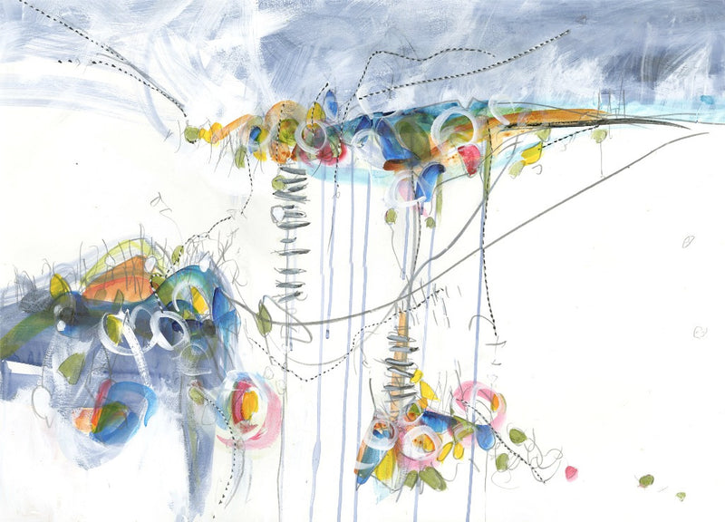 Water media painting, Network by Christine Alfery