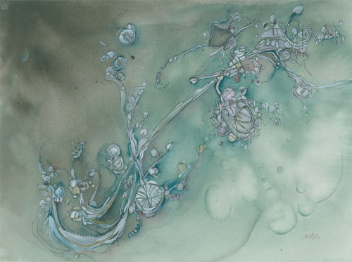 Water media painting, No Hands by Christine Alfery