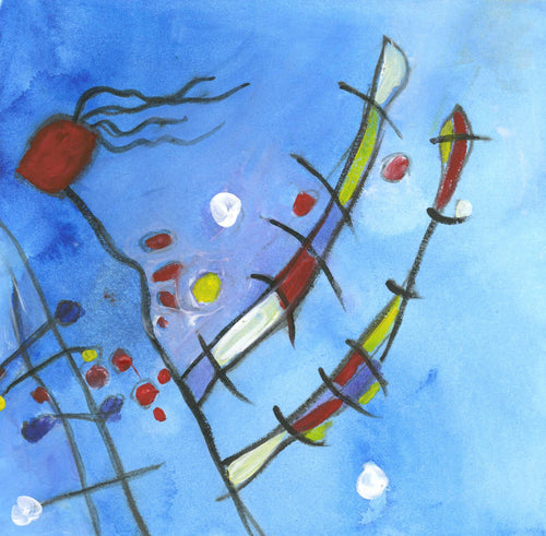 Water media painting, Ode to Miro III by Christine Alfery