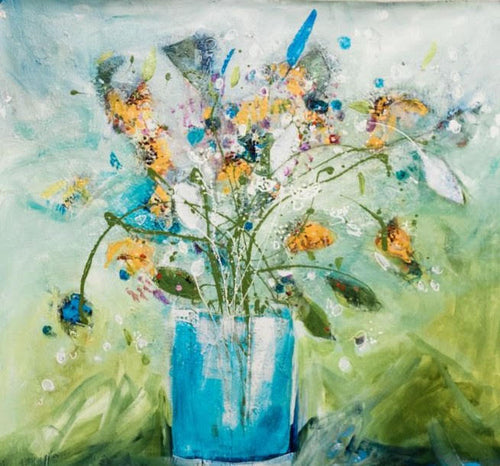 Water media painting, Picked Wild Flowers by Christine Alfery