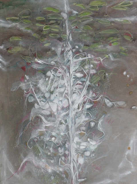 Water media painting, Pine Trees and Lily Pads by Christine Alfery