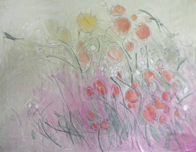 Water media painting, Poppies by Christine Alfery