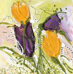 Water media painting, Purple and Yellow Tulips  by Christine Alfery