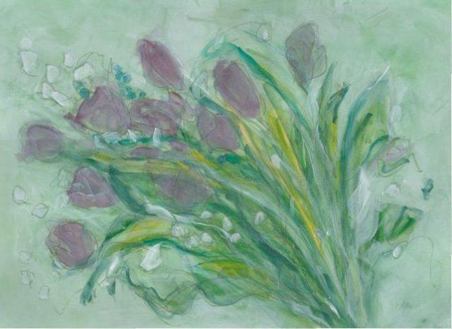 Water media painting, Purple Tulips by Christine Alfery