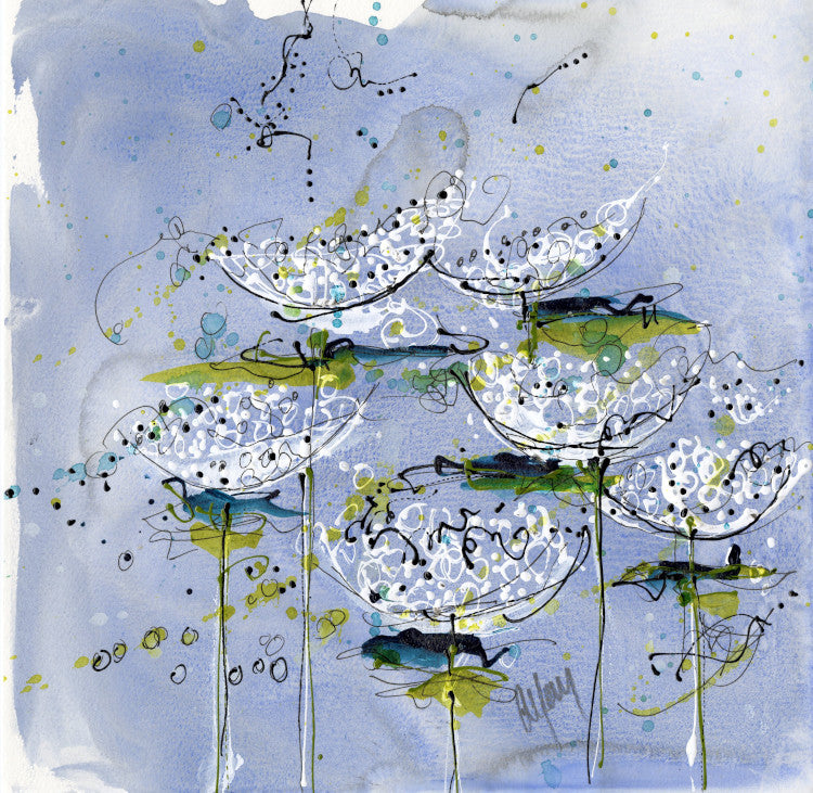 Water media painting, Queen Anne's Lace III  by Christine Alfery