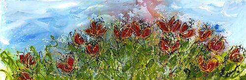 Water media painting, Red Flowers by Christine Alfery