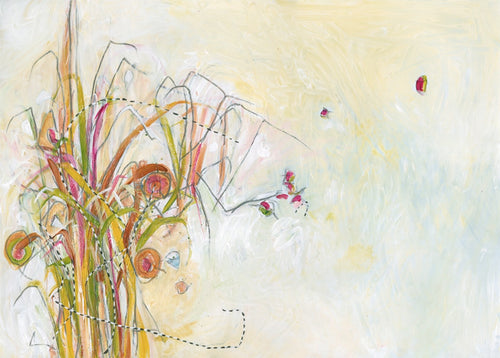 Water media painting, Hummingbird in the Garden by Christine Alfery