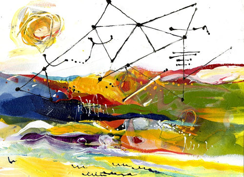 Water media painting, Satellites In the Sky by Christine Alfery