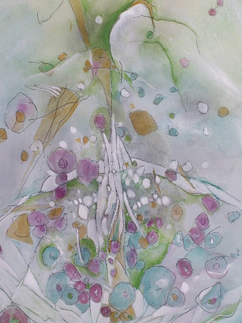 Water media painting, Spring's Explosion by Christine Alfery
