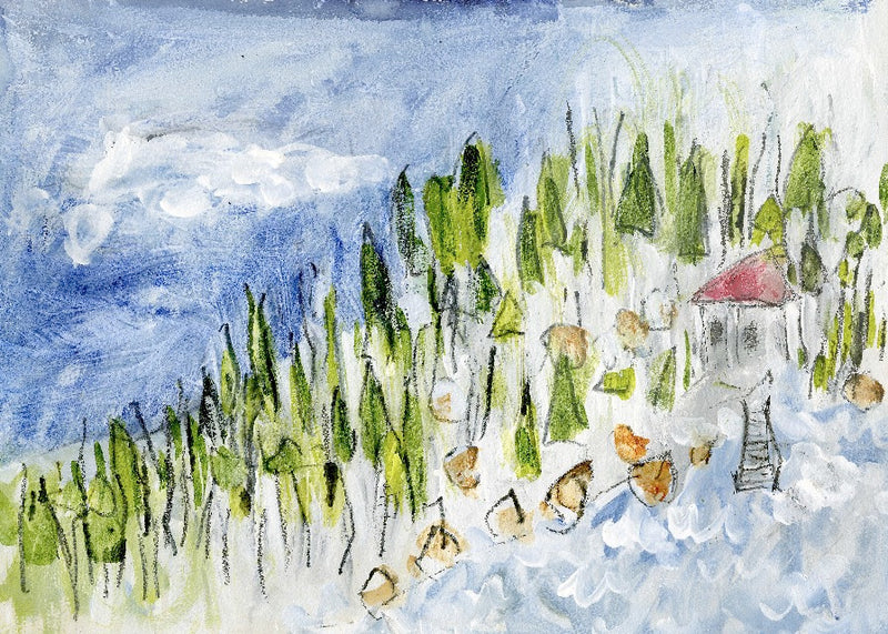 Water media painting, The Fishing Cabin has a Red Roof  by Christine Alfery