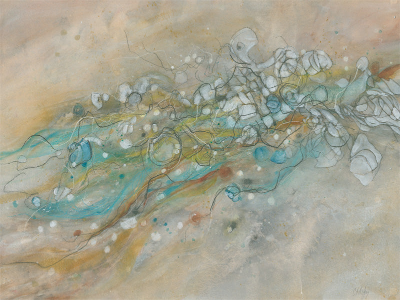 Water media painting, Journey of the Spider Gnat by Christine Alfery