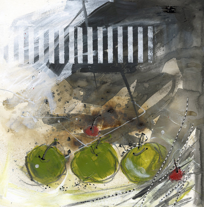 Water media painting, Three Green Apples Two Cherries by Christine Alfery