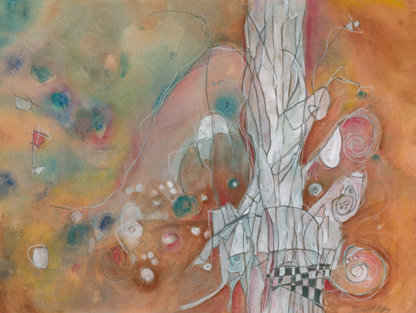 Water media painting, Totem by Christine Alfery