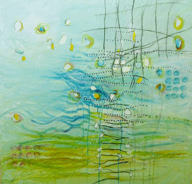 Water media painting, Where Water and Horizon Meet by Christine Alfery