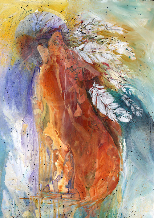 Water media painting, Spirit of the Wolf by Christine Alfery