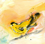 Water media painting, Yellow Finch by Christine Alfery
