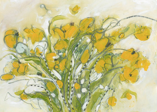 Water media painting, Yellow Bouquet  by Christine Alfery