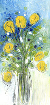 Water media painting on paper, Yellow Flowers in a Vase by Christine Alfery