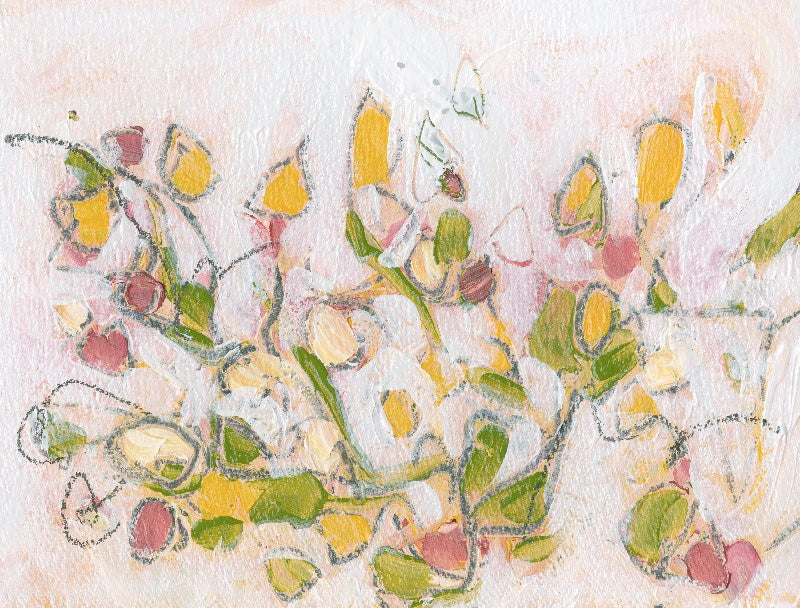 Water media painting, Yellow Flowers on a Vine by Christine Alfery