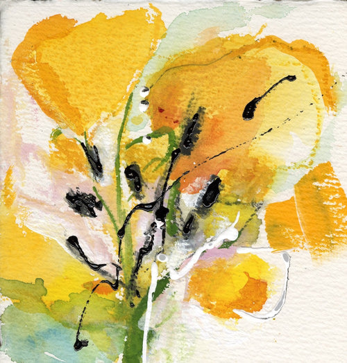 Water media painting, Yellow Tulip by Christine Alfery