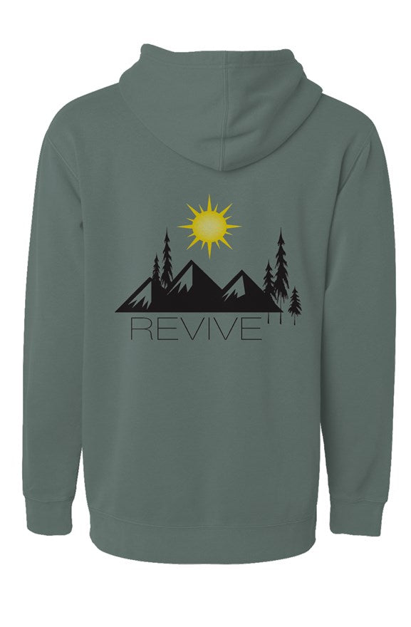 the revive pigment alpine green hoodie