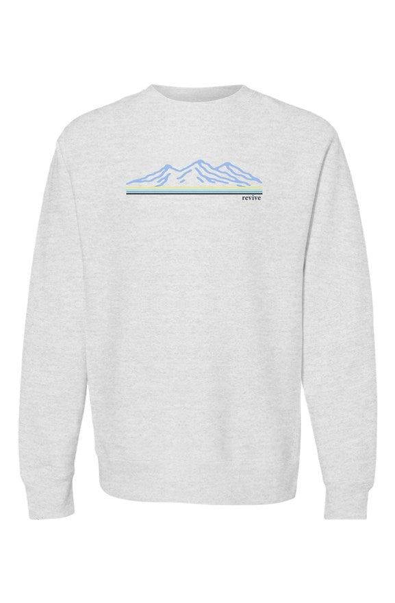 the mountains grey heather blues heavyweight crewn