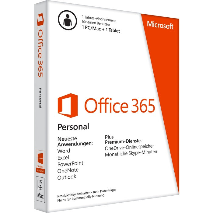 Microsoft Office 365 Personal 32/64-bit - 1 Tablet, 1 PC/Mac - 1 Year - Non-commercial, Medialess