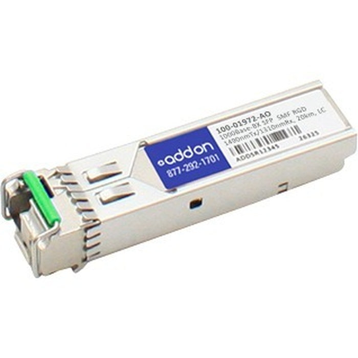 AddOn Calix 100-01972 Compatible TAA Compliant 1000Base-BX SFP Transceiver (SMF, 1490nmTx/1310nmRx, 20km, LC, Rugged)