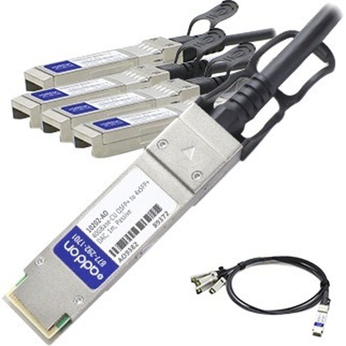 AddOn Extreme Networks 10202 Compatible TAA Compliant 40GBase-CU QSFP+ to 4xSFP+ Direct Attach Cable (Passive Twinax, 1m)
