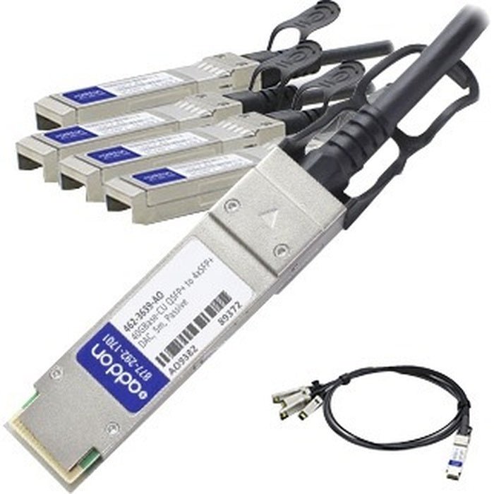 AddOn Dell 462-3639 Compatible TAA Compliant 40GBase-CU QSFP+ to 4xSFP+ Direct Attach Cable (Passive Twinax, 1m)