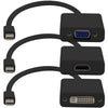 AddOn 3-Piece Bundle of 8in Mini-DisplayPort Male to DVI, HDMI, and VGA Female Black Adapter Cables