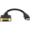 "Rocstor Premium 8in HDMI to DVI-D Video Adapter F/M- HDMI Female to DVI Male for Computers, Monitors, Notebook, Video Device - 8"" - 1 Retail Pack - 1 x HDMI Female - 1 x DVI-D (24+1) Male - Gold Platted - Shielding - Black CABLE HDMI FEMALE TO DVI-D MA..."