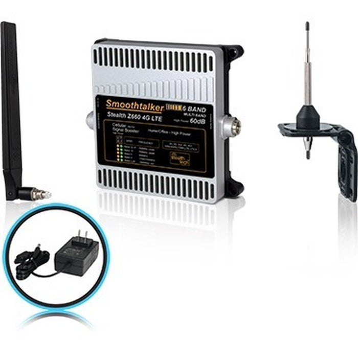 Smoothtalker Stealth Z6 60dB 4G LTE High Power 6 Band Cellular Signal Booster Kit