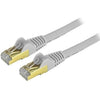 StarTech.com 6in Gray Cat6a Shielded Patch Cable - Cat6a Ethernet Cable - 6 inch Cat 6a STP Cable - Short Ethernet Cord