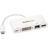 StarTech.com USB C Multiport Adapter - with Power Delivery (USB PD) - USB C to USB 3.0 / DVI / Gigabit Ethernet - USB-C Hub