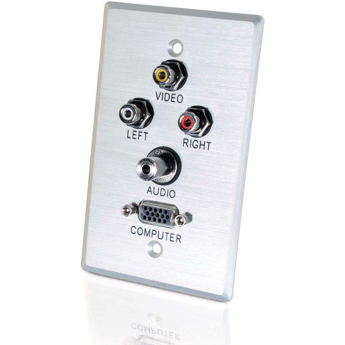 SINGLE GANG ALUM A/V 3.5MM - HD-15 WALLPLATE