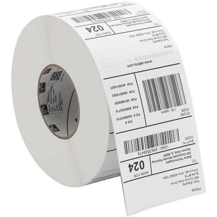 2PK LABEL PAPR 4X4.5IN DT 8000D - LAB COATED PERM ADH 3IN 1000/ROLL