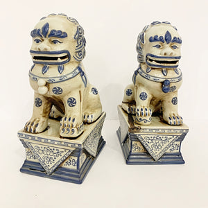 Blue and White Foo Dogs