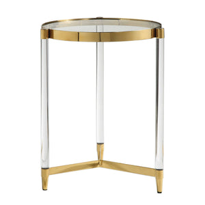 Acrylic and Gold Accent Table