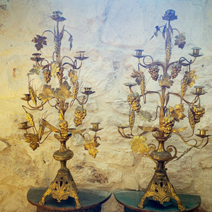 Pair of 19th Century French Gold Candelabras