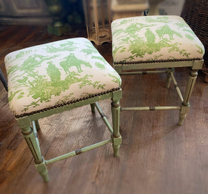 French Toile Antique Benches