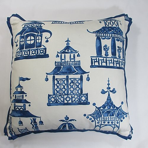 Cobalt Blue and White Pagoda Pillow