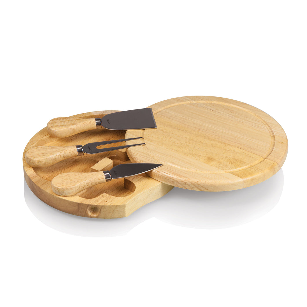 BRIE CHEESE CUTTING BOARD & TOOLS SET, (RUBBERWOOD)