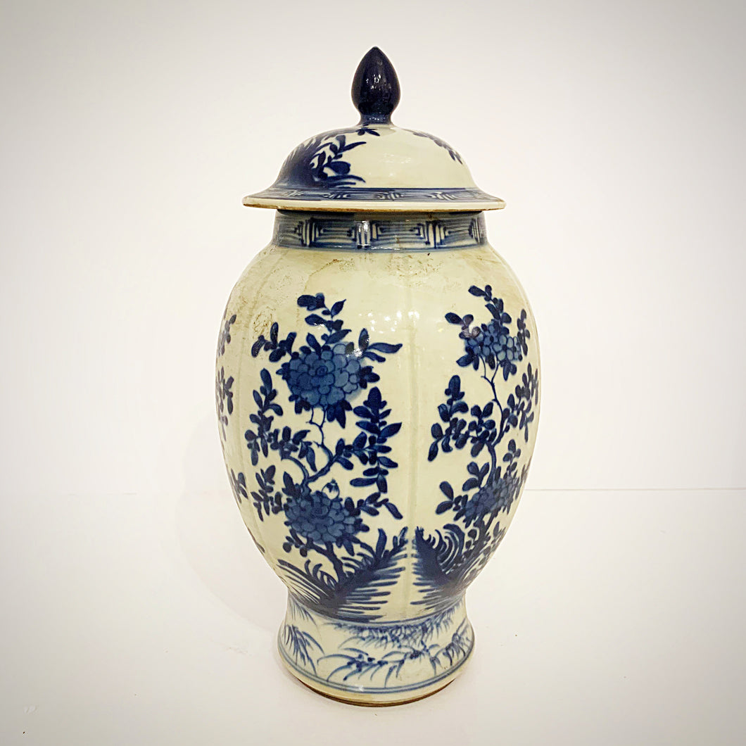 Blue and White Oval Jar