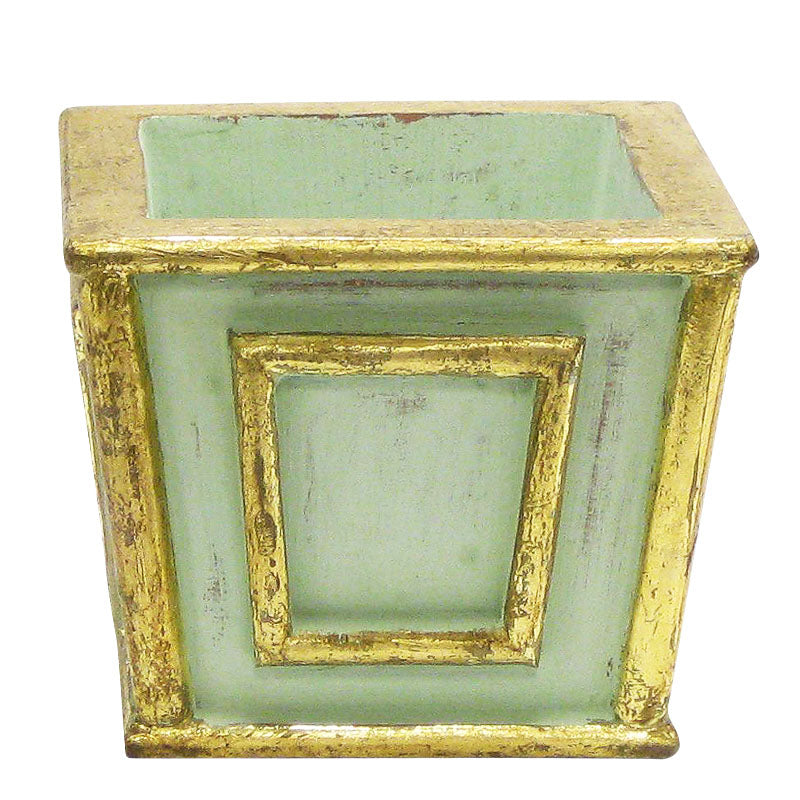 Wooden Mini Square Planter - Gray Antique w/ Gold