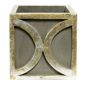 Wooden Square Container w/ Half Circle - Dark Grey w/ Antique Silver