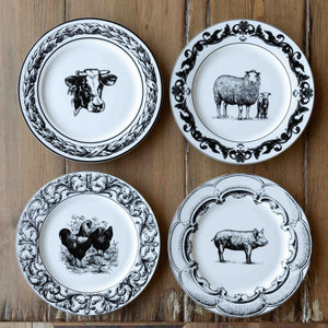 "Barnyard Ceramic Dinner Plates, 10.5"", 4 Assorted Styles"