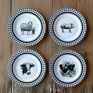 "Barnyard Ceramic Salad Plates, 8"", 4 Assorted Styles"